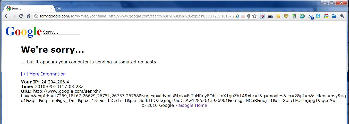 Screenshot of Google Automated Request