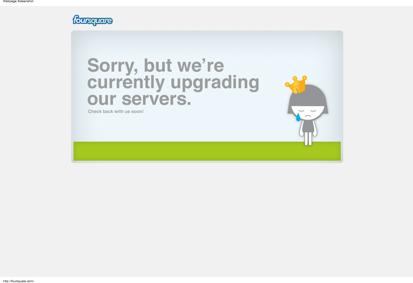 Foursquare Goes Down... err I mean they're upgrading servers...